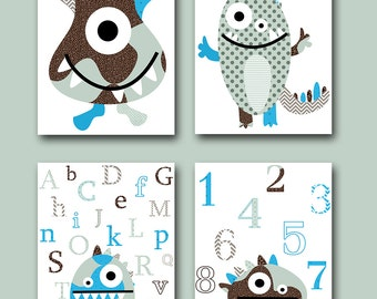 Didital Alphabet Nursery Baby Boy Nursery Art Print Monster Nursery Children Art Kids Art set of 4 8x10 11X14 Kids INSTANT DOWNLOAD Wall Art