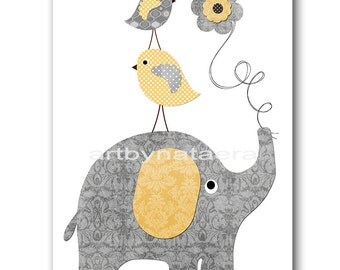 INSTANT DOWNLOAD Art Elephant Nursery Printable Art Nursery Digital Download Art Baby Boy Nursery Digital Download Print 8x10 11X14