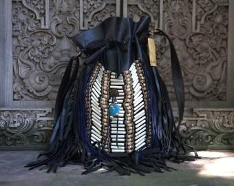 black fringe leather bag,native american inspired, handmade, boho leather purse