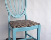 Teal / Turquoise Fan Back Chair with Fun Animal Print Chair