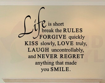 Life Is Short Love Quote Wall Decal. Forgive, Kiss, Love, Laugh, Smile Wall Art - Removable. Great for around a photos, a clock, and more!