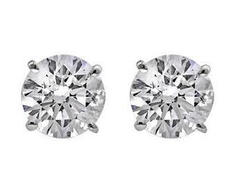 0.68 J SI2 Round Brilliant Cut Diamond Studs, Natural Diamonds Studs, Diamond Earrings, Set of Diamond Studs
