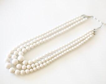 Beautiful Three Strand White Vintage Necklace