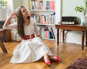Gorgeous Handmade Micro Floral Full Circle 3/4 Sleeved Dress - UK 8