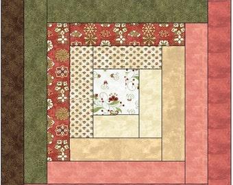 Traditional Log Cabin Quilt Block  Pattern Digital Download