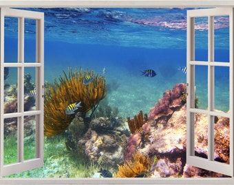 Underwater wall decal Coral reef fishes 3D window, reef fish underwater wall sticker for home decor, sea wall art for home decoration [068]