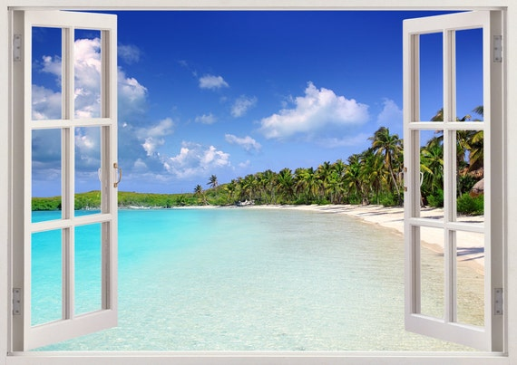 Tropical caribbean beach wall decal 3d window tropical beach for Beach window mural