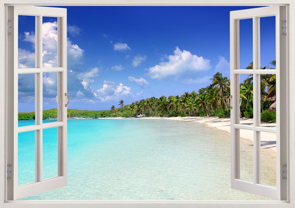 Tropical caribbean beach wall decal 3d window tropical beach - Stickers papier peint mural ...