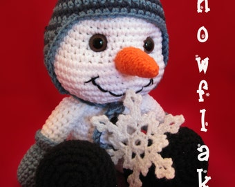 "Crocheted ""Snowflake"" The Snowman Doll"