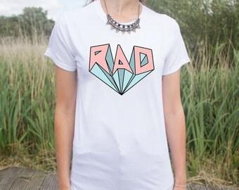 RAD T-shirt Top Retro Pastel Surf Festival Fresh