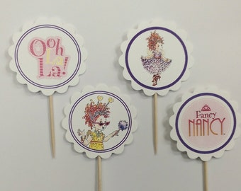 Fancy Nancy themed cupcake toppers