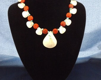 """18"""" Sponge Coral, Chinese Turquoise, and Bleached Mother of Pearl bead necklace and earring set."""