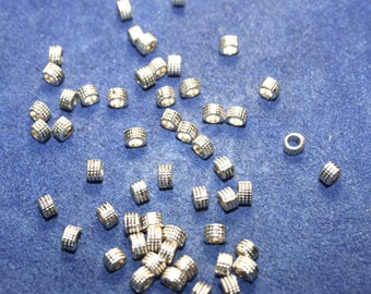 Pewter Beads Large Hole 50 Beads   (3 x 4 mm)