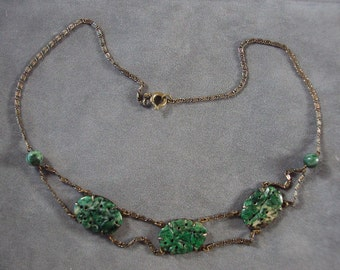 Edwardian Festoon Necklace of Unakite