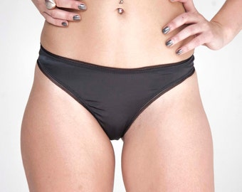 Luxurious stretch satin brief with adjustable back V shape opening in 7 different colours