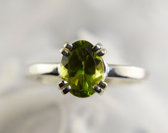 Sterling Silver 8 by 6mm Peridot Ring