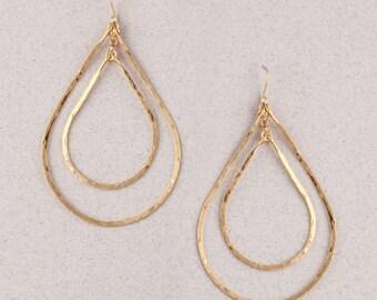 Gold Hammered Double Teardrop Earrings.