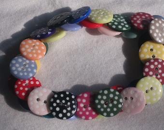 Multicoloured Dotty Button Bracelet