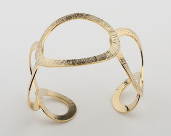 Awesome Hammered texture crafted Abstract Openwork Forged Cuff Bracelet, gold color Bangle