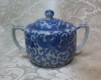 Vintage Cute blue & white sugar sugar, made in Japan