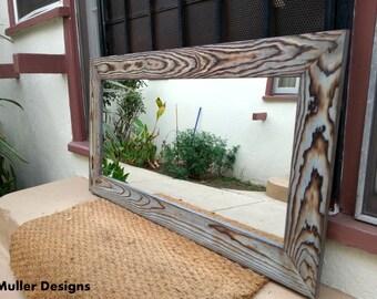 Handmade Sky Blue Wood Mirror 113 x 77 cm