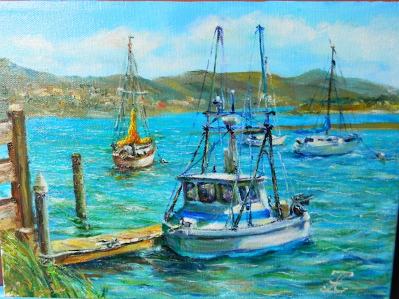 Fishing boats morro bay oil painting on canvas 9 x by for Morro bay fishing