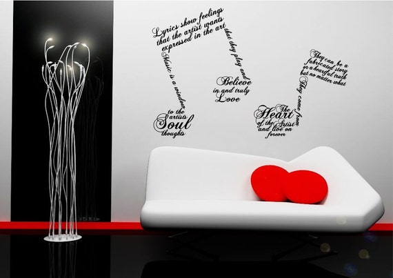 music note symbols wall sticker quote decal transfer mural. Black Bedroom Furniture Sets. Home Design Ideas