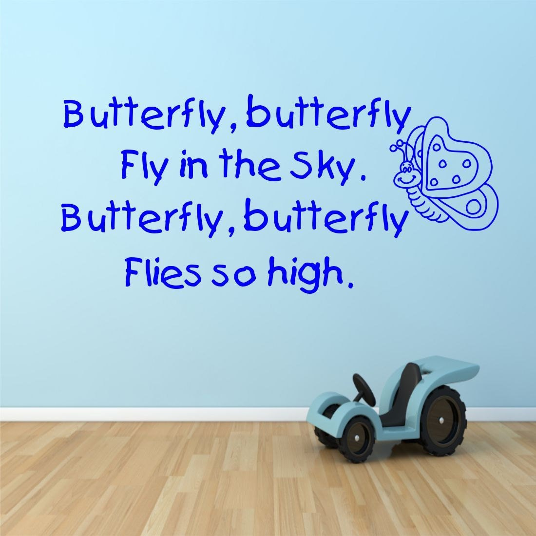 kids childrens butterfly poem bedroom nursery wall art sticker zoom