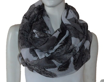 White Floral Light Weight X-large Infinity Scarf Loop Cowl