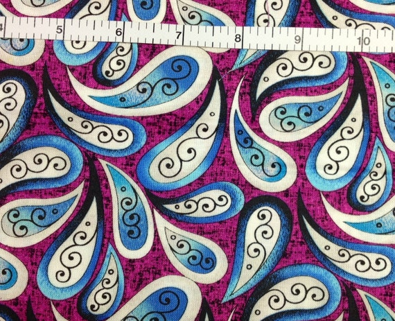 Bernartex Plum Urban Paisley 100 Cotton Fabric For