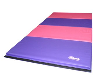 8 foot Gymnastics Tumbling Mat, Folding Panel Mat - Colors: Pink Purple, Blue, Rainbow, Pastel, Pink Light Blue
