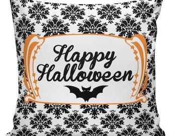 Halloween Decorations, October, Pillow, Cushion, Halloween, Orange, Black, Autumn, Cotton RQ-124 RavenQuoth All Hallow's Eve Home Decor