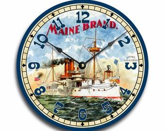 Vintage Maine Brand wall clock. The Maine battleship. CL3002