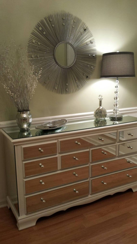 mirrored dresser white elegant 9 drawer shabby by mirroredjewels