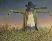 "Giclee Canvas Print of Original Oil Painting scarecrow  ""Sack Billy"" by Robert Bean"