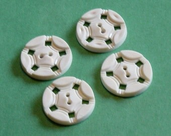 Vintage Off-White Star Buttons - Nautical Theme - Set of 4