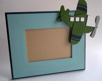 Boys wooden plane picture frame