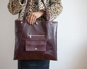 Burgundy Chic Briefcase - Laptop Tote Bag