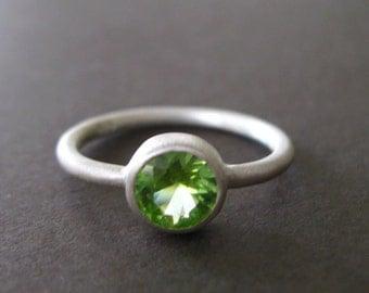 Green Peridot Matte Sterling Silver Stacking Ring Birthstone Ring