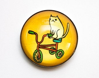 Cat TRICYCLE MAGNET - Red tricycle art magnet, children's tricycle cat magnet, classic tricycle illustration, cat on tricycle