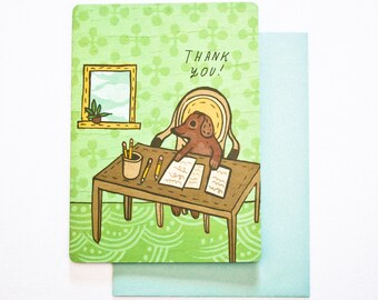 Coworker thank you card - dog card - thank you dog card - funny office greeting card