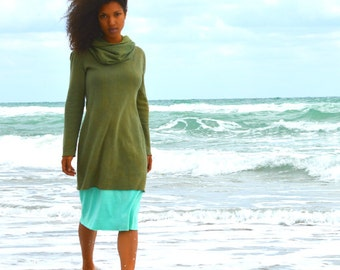 The chunky cowl neck tunic. Organic hemp fleece. Made to order.