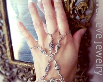 Rose Garden Slave Bracelet Gothic Cage Bracelet Hand Jewelry