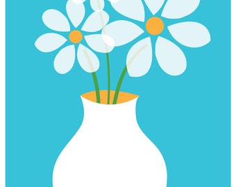 Blue Daisies Giclee Flower Art Print - Happy Mid Century Inspired Kitchen Table Flowers Poster Print
