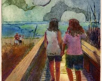 Walk on the beach Holding Hands Family Original Art Collagraph Printmaking Belinda DelPesco