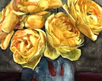 Graham Thomas Roses in a Blue Vase English Floral Watercolour Belinda DelPesco