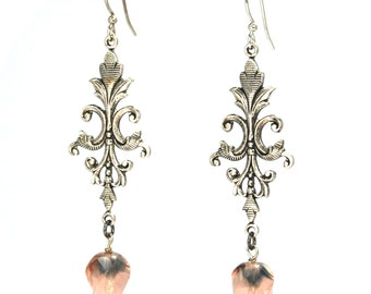 CLEARANCE 50% OFF Victorian Rococo Style Earrings Silver Filigree with Laurel Leaves Pink Faceted Czech Glass Beads by Nouveau Motley