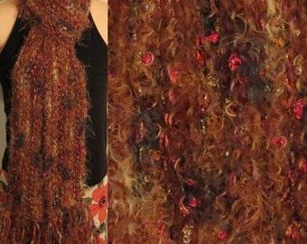 Hand Knit Gypsy Scarf Brown ribbon eyelash