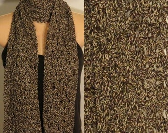 Hand Knit Scarf Lace Bamboo Brown Cream soft
