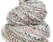 Handspun handdyed yarn BFL Merino wool tencel sari silk sparkle